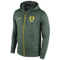 Nike College Sideline KO Full-Zip Hoodie - Men's - Oregon Ducks - Dark Green / Yellow