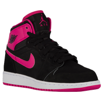 Jordan AJ 1 High - Girls' Grade School - Black / Pink