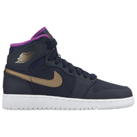 Jordan AJ 1 High - Girls' Grade School - Navy / Gold