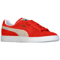 womens red puma suede wedges