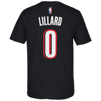 adidas NBA Game Time T-Shirt - Men's -  Damian Lillard - Portland Trail Blazers - Black / White