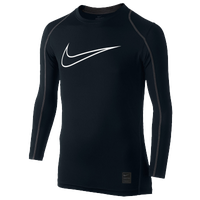 Nike Pro Cool Fitted Compression L/S Top - Boys' Grade School - Black / Grey