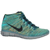 Nike Free Flyknit Chukka - Men's - Light Green / Navy