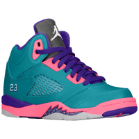 Jordan Retro 5 - Girls' Preschool - Aqua / White