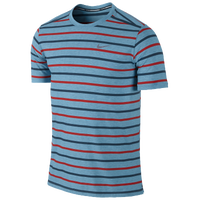 Nike Dri-FIT Tailwind Short Sleeve Stripe Crew - Men's - Light Blue / Navy