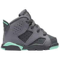 Jordan Retro 6 - Girls' Toddler - Grey / Light Green