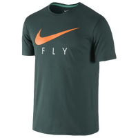 Nike Fly Graphic T-Shirt - Men's - Dark Green / Orange