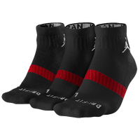 Jordan Dri-FIT Low Quarter 3 Pack Socks - Black / Red