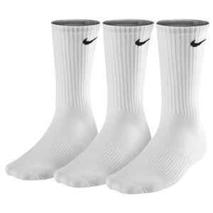 Nike 3 Pack Moisture MGT Cushion Crew Sock - Men's - White/Grey