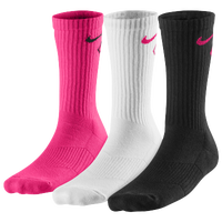 Nike 3 Pack Graphic Cushioned Crew Socks - Boys' Grade School - Pink / White