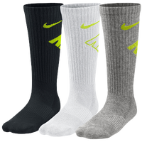 Nike 3 Pack Graphic Cushioned Crew Socks - Boys' Grade School - Black / White