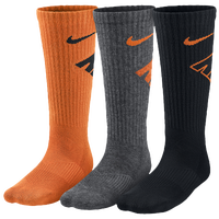 Nike 3 Pack Graphic Cushioned Crew Socks - Boys' Grade School - Orange / Black