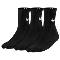 Nike 3 Pack Mositure MGT Cushion Crew Sock - Boys' Grade School - All Black / Black