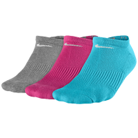 Nike 3 Pack Cotton Cush No Show w/Moisture - Women's - Grey / Pink