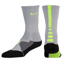 Nike Hyperelite Basketball Crew Socks - Men's - Grey / Light Green