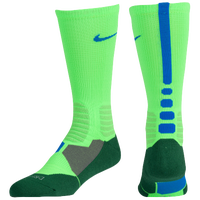 Nike Hyperelite Basketball Crew Socks - Men's - Light Green / Blue