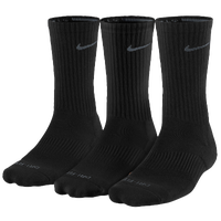 Nike 3PK Dri-FIT 1/2 Cushion Crew Socks - Men's - Black / Grey