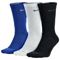 Nike 3PK Dri-FIT 1/2 Cushion Crew Socks - Men's - Blue / White