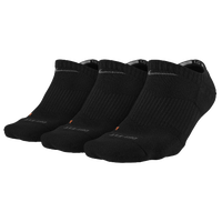 Nike 3PK Dri-Fit 1/2 Cushion No Show Socks - Men's - All Black / Black