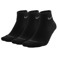 Nike 3PK Dri-FIT 1/2 Cushion Quarter Socks - Men's - All Black / Black