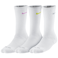 Nike 3 Pack Dri-FIT Cushioned Crew - Women's - White / Pink