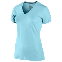 Nike Slim Fit Dri-Fit Cotton V-Neck T-Shirt - Women's - Light Blue / Light Blue