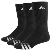 adidas 3-Stripe 3 Pack Crew Socks - Men's - Black / White