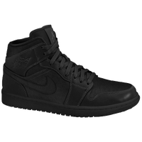 Jordan AJ 1 Mid - Boys' Grade School - All Black / Black