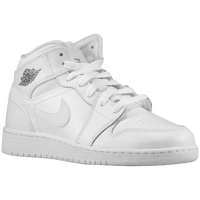 Jordan AJ 1 Mid - Boys' Grade School - White / Grey