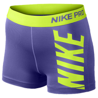 Nike Pro Logo Shorts - Women's - Purple / Light Green