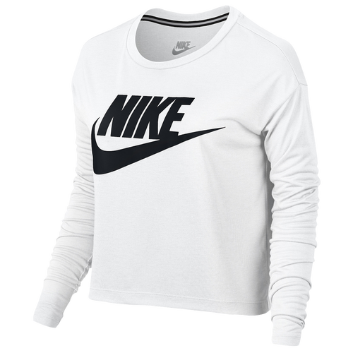 nike essential long sleeve crop top women 39 s casual. Black Bedroom Furniture Sets. Home Design Ideas