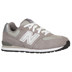 New Balance 574 Suede - Boys' Grade School - Grey/Silver