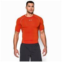Under Armour Heatgear Armour Compression S/S Shirt - Men's - Orange / Grey