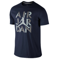 Jordan AJ Stencil T-Shirt - Men's - Navy / Grey