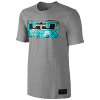 Nike LeBron Jock Tag T-Shirt - Men's -  LeBron James - Grey / Light Blue