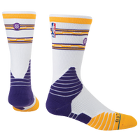 Stance NBA On Court Crew Socks - Men's - Los Angeles Lakers - White / Purple