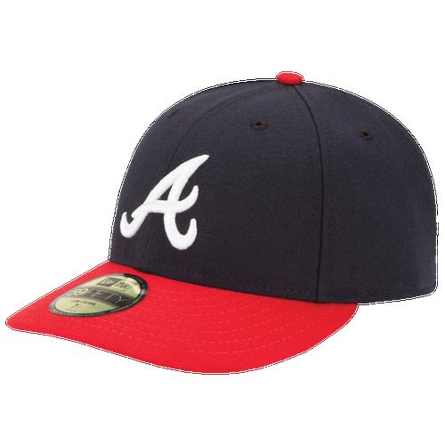 New Era MLB 59Fifty Low Profile Authentic Cap - Men's - Atlanta Braves - Navy / Red