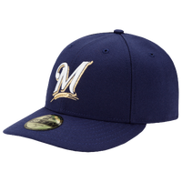 New Era MLB 59Fifty Low Crown Authentic Cap - Men's - Milwaukee Brewers - Navy / White