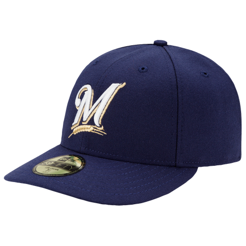 New Era MLB 59Fifty Low Profile Authentic Cap - Men's - Milwaukee Brewers - Navy / White