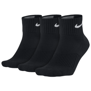Nike 3 Pack Moisture MGT Cushion Quarter Sock - Men's - Black/White