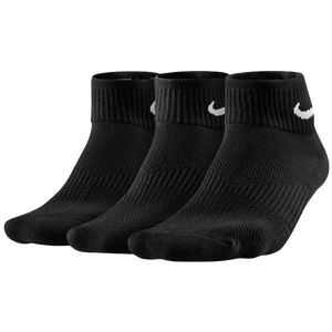 Nike 3 Pack Cotton Cush Quarter w/ Moisture - Women's - Black/White