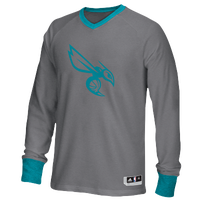 adidas NBA Second Half L/S Shooter Shirt - Men's - New Orleans Hornets - Grey / Aqua