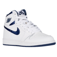 Jordan Retro 1 High OG - Boys' Grade School - White / Navy