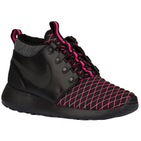 Nike Roshe One Mid - Girls' Grade School - Black / Pink