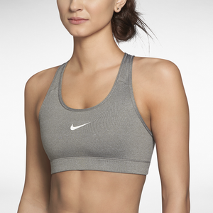Nike Pro Core Bra - Women's - Carbon Heather/White