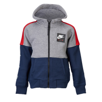 Nike Air Fleece Full-Zip Hoodie - Boys' Toddler - Navy / Grey
