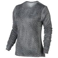 Nike Dri-FIT Miler Long Sleeve T-Shirt - Women's - Grey / Black