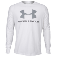 Under Armour Sportstyle Logo Long Sleeve T-Shirt - Men's - White / Grey