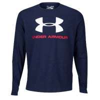 Under Armour Sportstyle Logo Long Sleeve T-Shirt - Men's - Navy / Red