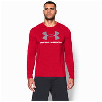 Under Armour Sportstyle Logo Long Sleeve T-Shirt - Men's - Red / Grey